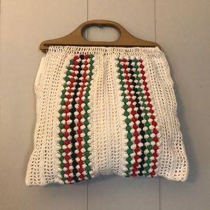 VINTAGE Handmade BOHO Crochet Handbag Tote